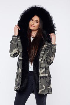 Black casual jacket with ecological fur