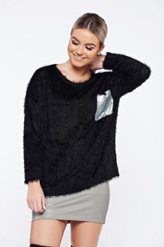 Black casual knitted sweater sequin embellished details