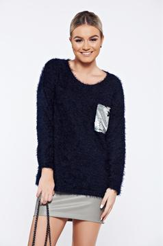 Darkblue casual knitted sweater sequin embellished details