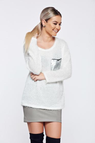White casual knitted sweater sequin embellished details