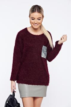 Burgundy casual knitted sweater with sequin embellished details