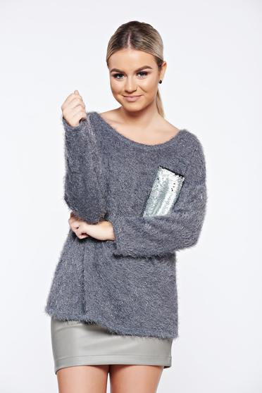 Grey casual knitted sweater sequin embellished details