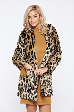 Cream casual ecological fur with animal print