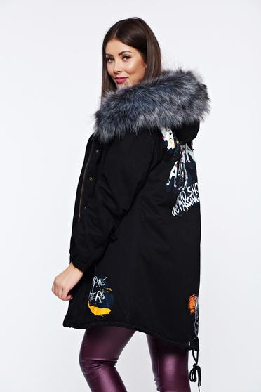 Black casual jacket with writing print and metallic spikes