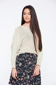 Cream casual knitted flared sweater