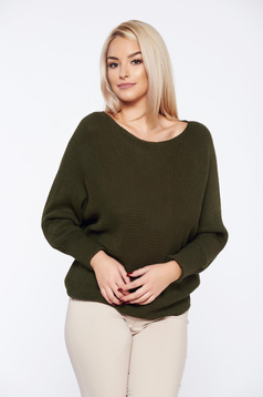 Darkgreen casual knitted flared sweater