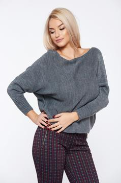 Grey casual knitted flared sweater
