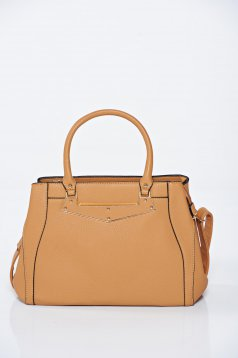 Brown ecological leather office bag with metalic accessory