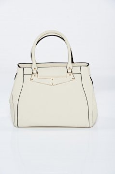 Cream ecological leather office bag metalic accessory