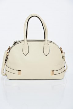 Cream casual ecological leather bag with short handles