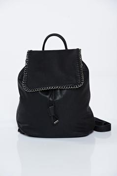 Black ecological leather backpacks accessorized with chain