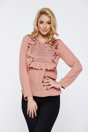 LaDonna rosa office women`s blouse with ruffles on the chest lace details