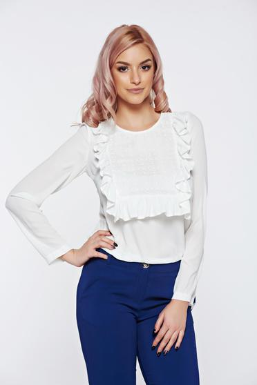 LaDonna white office women`s blouse with ruffles on the chest lace details