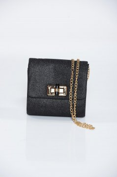 Black occasional bag glitter details detachable chain