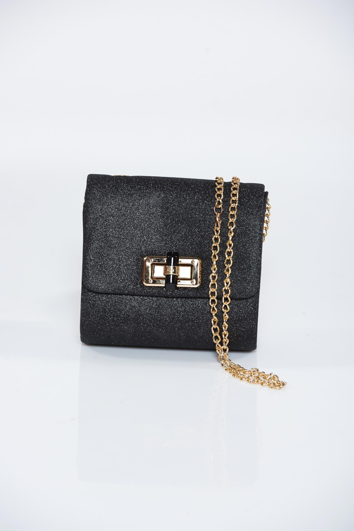 8c0021635e Fekete táska alkalmi csillogó díszítések eltávolítható vékony lánc