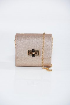 Gold occasional bag with glitter details and detachable chain
