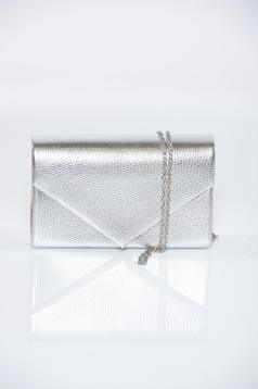Grey occasional bag metallic aspect detachable chain