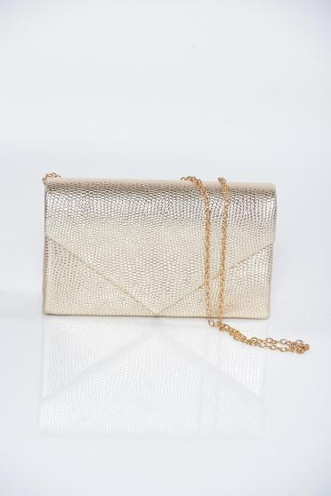 Gold occasional bag with metallic aspect and detachable chain