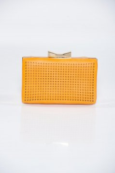 Orange elegant bag from pierced fabric