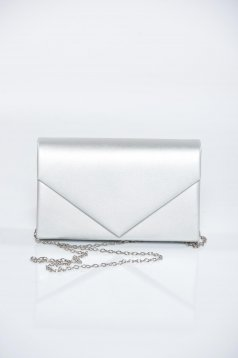 Grey occasional bag with metallic aspect