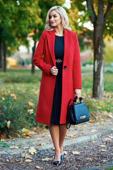 LaDonna casual straight with pockets red coat from wool