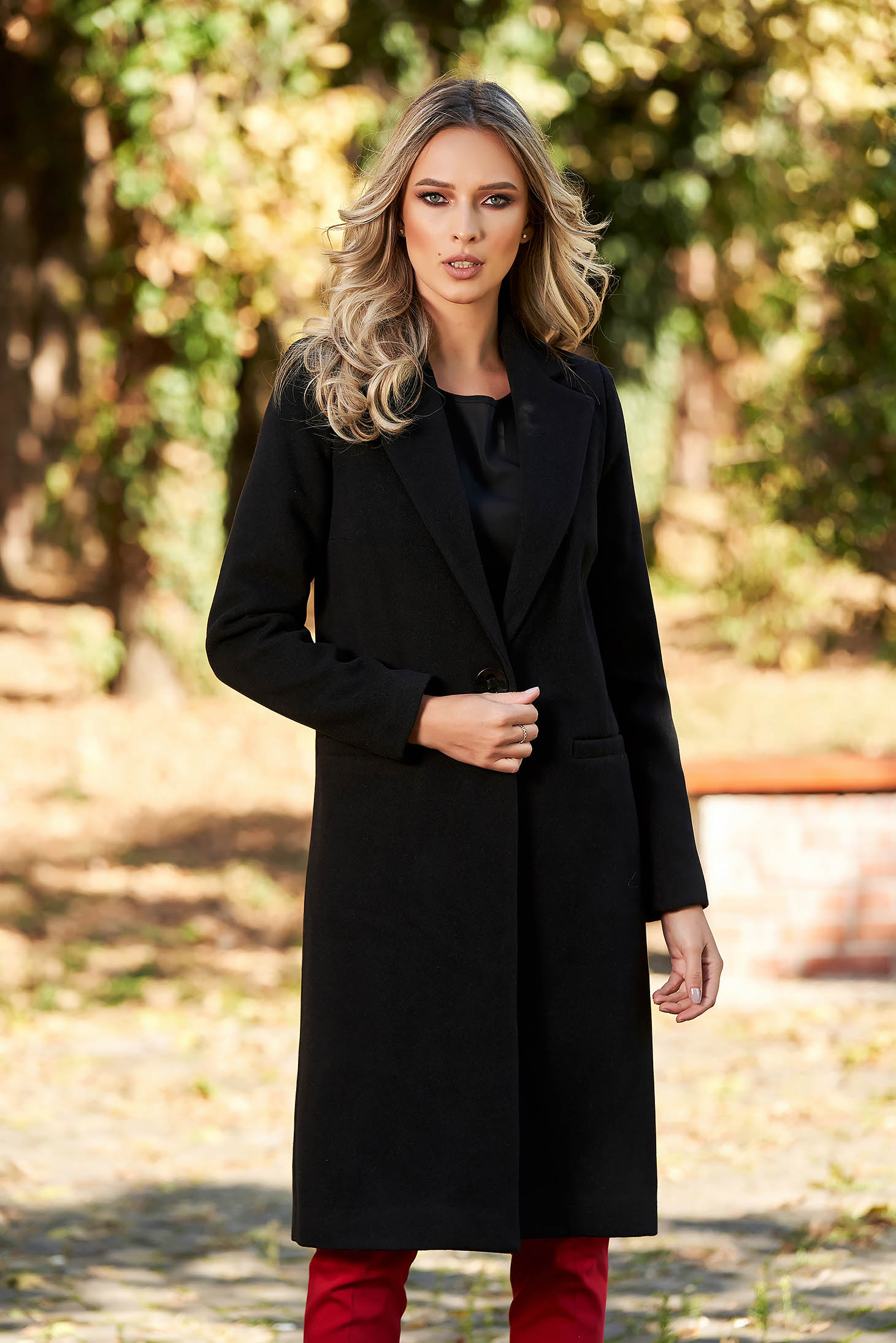 LaDonna casual straight with pockets black coat from wool