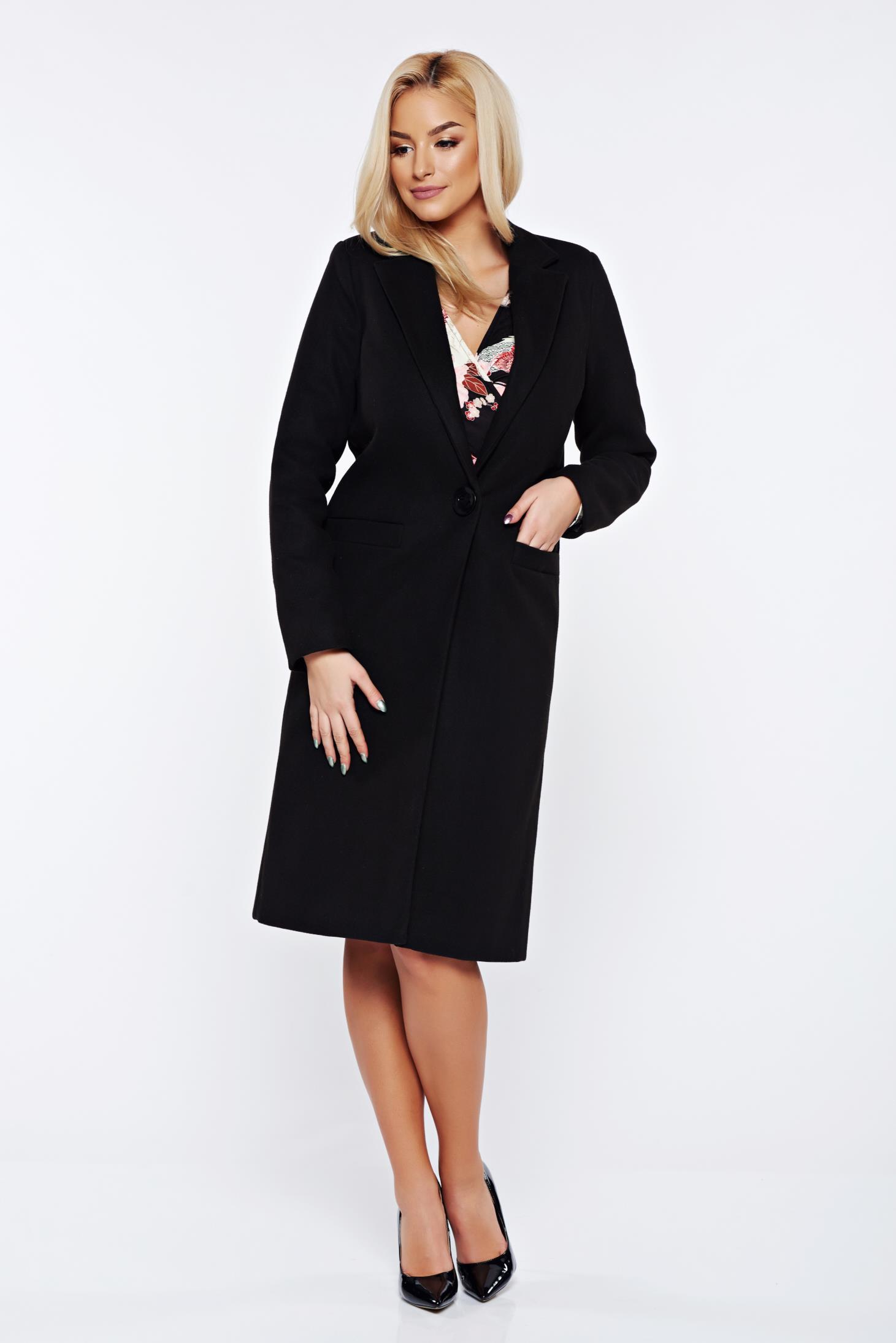 Palton LaDonna negru basic cu un croi drept din lana captusit pe interior cu buzunare