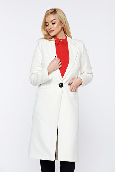 LaDonna casual straight with pockets white coat from wool