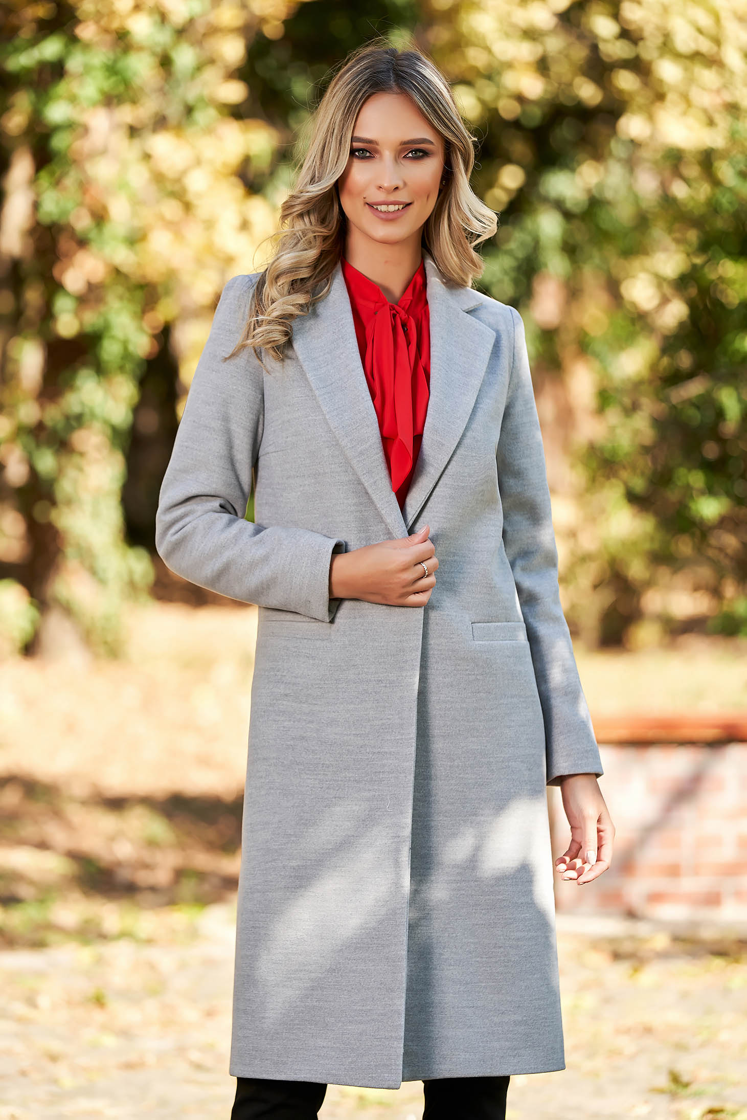 stiluri proaspete serviciu bun noi speciale Palton LaDonna gri basic cu un croi drept din lana captusit pe ...