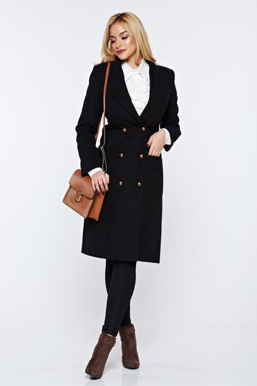 LaDonna black casual coat from wool with pockets with inside lining