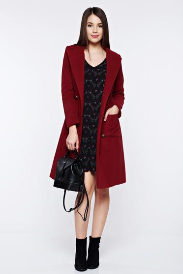 LaDonna burgundy casual coat from wool with pockets with inside lining