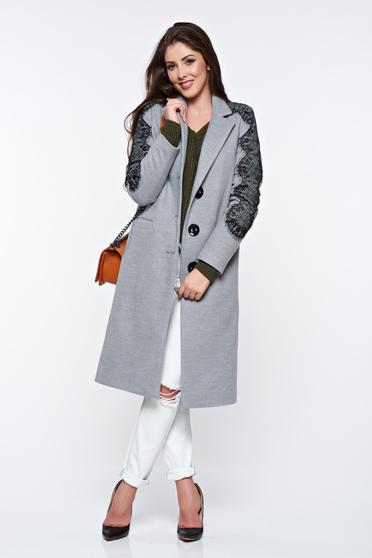 LaDonna grey embroidered elegant straight coat with inside lining