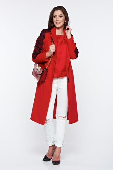 LaDonna red embroidered elegant straight coat with inside lining