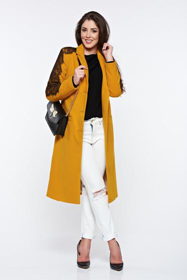 LaDonna mustard embroidered elegant straight coat with inside lining
