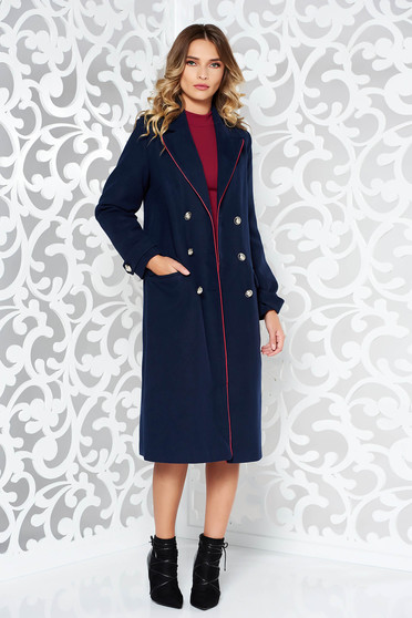 LaDonna darkblue casual straight coat from wool with button accessories