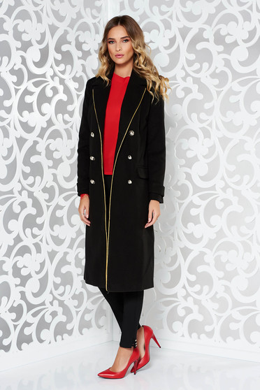 LaDonna black casual straight coat from wool with button accessories