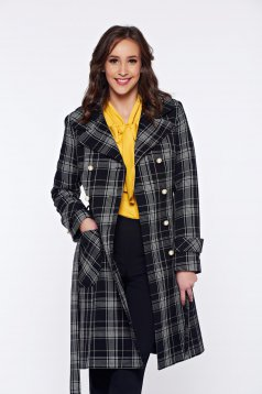 LaDonna elegant with chequers with pockets black coat from wool
