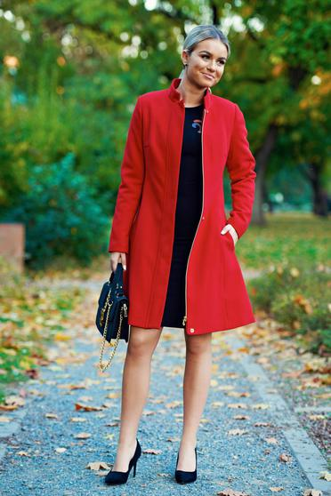 LaDonna red casual coat with inside lining with pockets