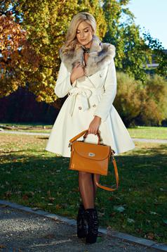 LaDonna elegant white coat from wool with detachable faux fur insertions