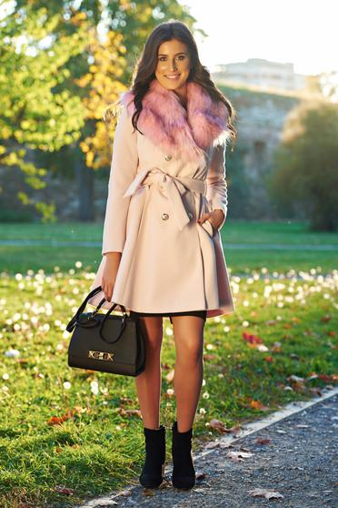 LaDonna elegant rosa coat from wool with detachable faux fur insertions