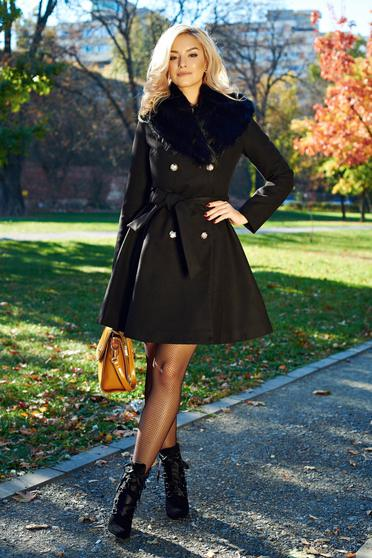 LaDonna elegant black coat from wool with detachable faux fur insertions