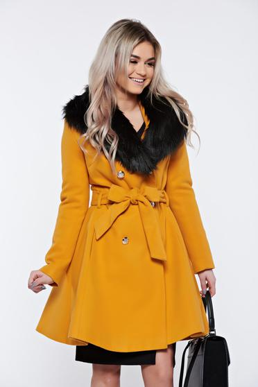 LaDonna elegant mustard coat from wool with detachable faux fur insertions