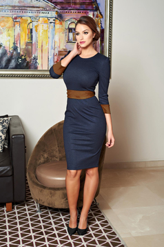 StarShinerS brown office pencil dress accessorized with tied waistband