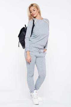 StarShinerS grey casual sporty cotton set with metallic chain accessory