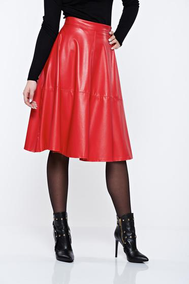 StarShinerS red casual cloche high waisted skirt from ecological leather