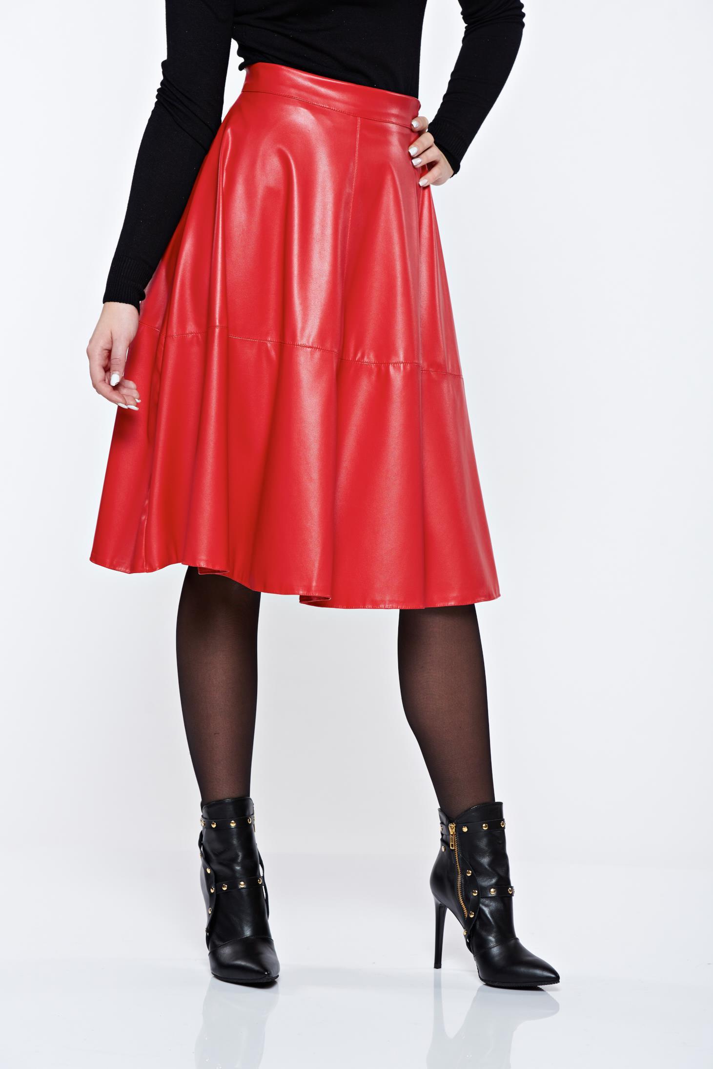 Piros StarShinerS casual magas derekú midi harang szoknya műbőrből