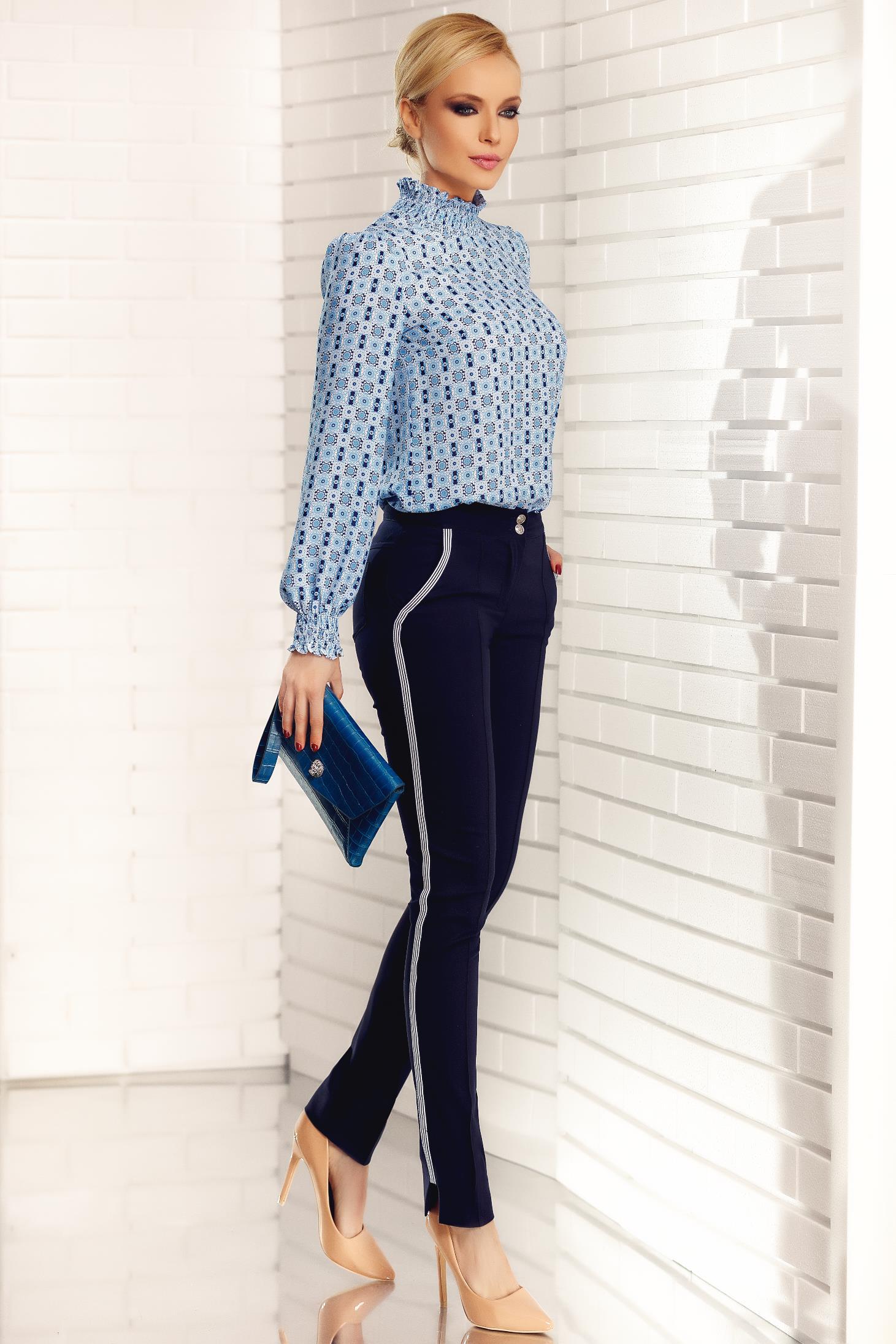 Bluza dama Fofy albastra office din voal cu croi larg pe gat