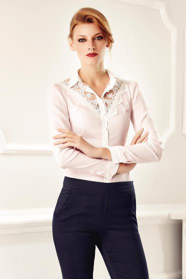 Fofy rosa office elegant cotton women`s shirt with lace details