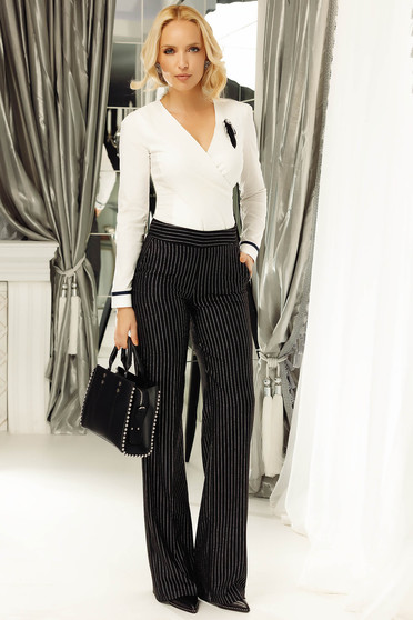 Fofy black office flared trousers with vertical stripes