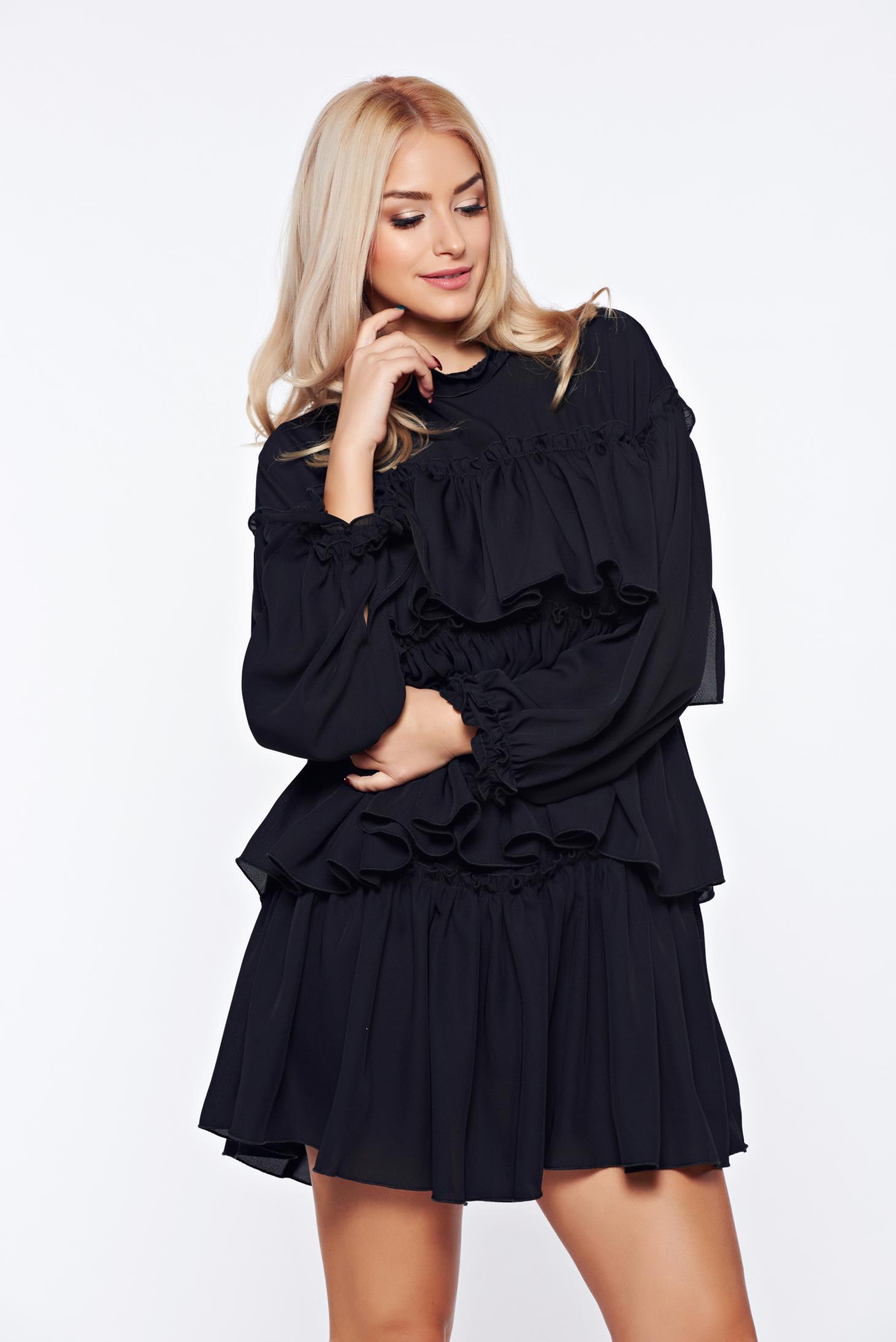 Rochie Ana Radu neagra eleganta volanase pe toata suprafata rochiei